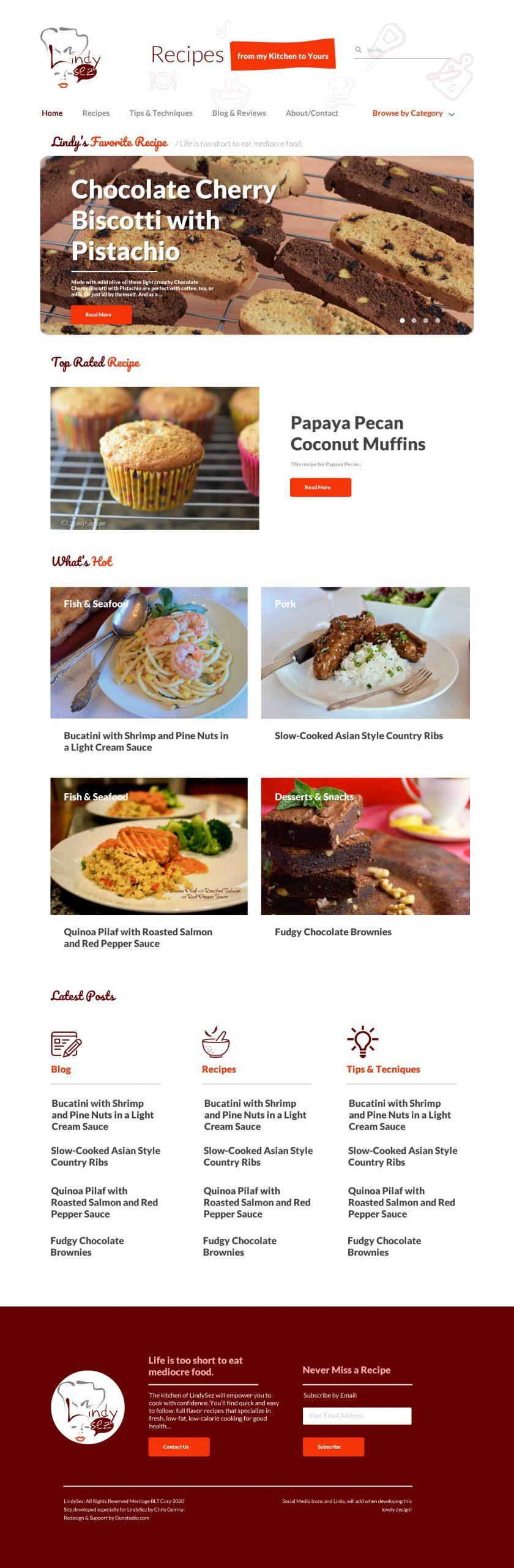 Chef Blog Redesign - Website Rebuild - Lindysez.com