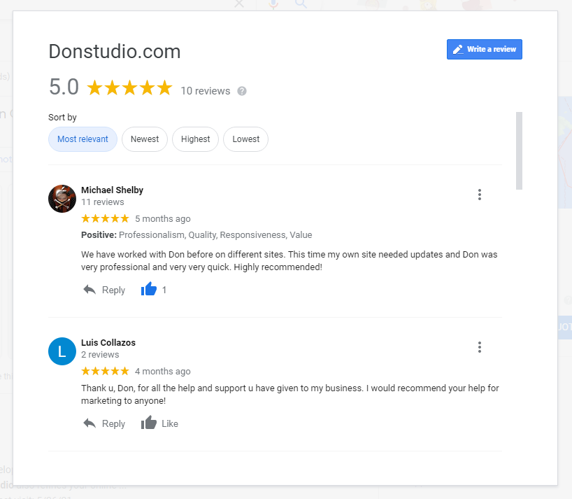 Snip donstudio.com Google Search Google Chrome